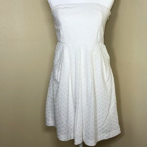 Gap Emily D eyelet strapless dress in optic white